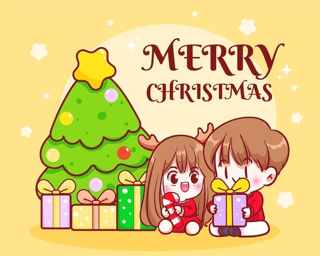 Couple holding a christmas presents holiday celebration hand drawn cartoon art illustration