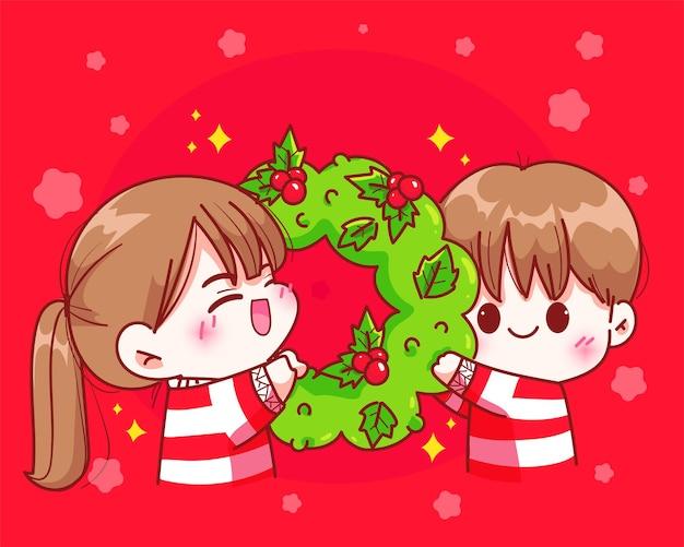 クリスマスの休日の手描きの漫画アートイラストでクリスマスリースを一緒にお祝いを保持しているカップル