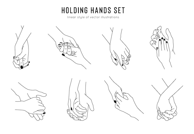 Couple holding friendship and lovers hand gestures in linear style