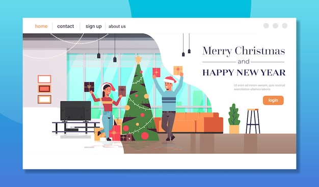 Couple holding gift present boxes merry christmas happy new year holiday celebration concept man woman wearing santa hats modern living room interior landing page