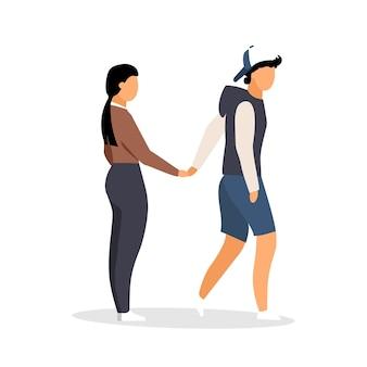 Пара, держащая руки плоскими цветными безликими персонажами