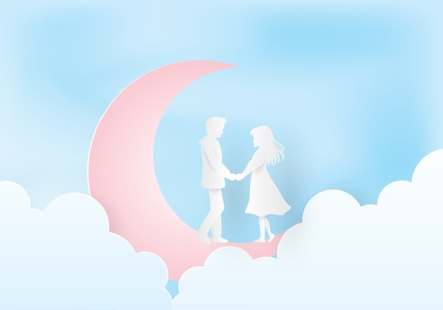 Couple holding hands on the moon
