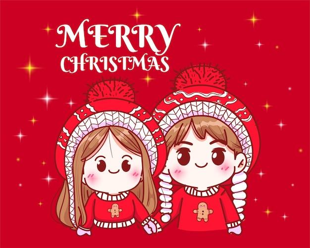 クリスマス休暇のお祝いの手描きの漫画アートイラストで手をつないでカップル