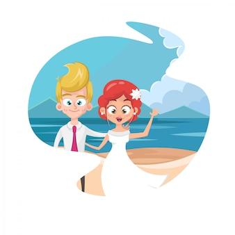 Пара держаться за руки на пляже