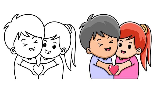 아이들을 위한 사랑을 함께 들고 있는 커플 색칠하기 페이지