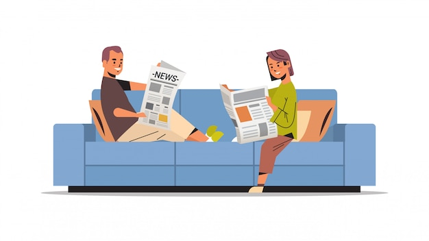 Couple holding newspapers man woman sitting n sofa reading daily news press mass media concept