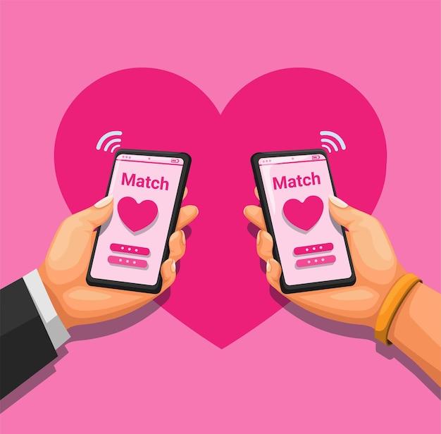 出会い系アプリのコンセプトを使用してsmatrtphoneを保持しているカップル