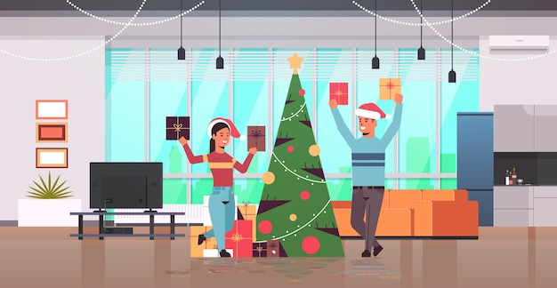 Couple holding wrapped gift present boxes merry christmas happy new year holiday celebration concept man woman wearing santa hats modern living room interior flat full length horizontal vector