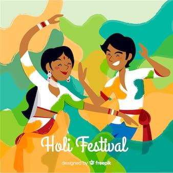 Couple holi festival background
