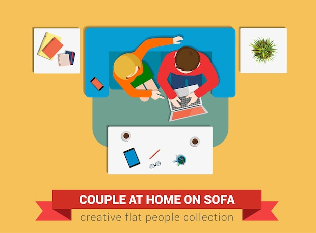 Couple at home illustration
