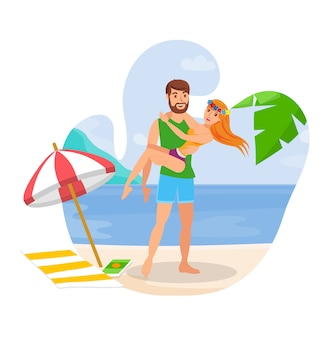 Couple on honeymoon flat isolated illustration