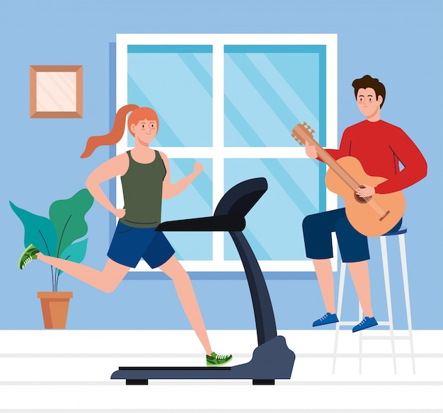 Couple in the house, doing activities, woman running on treadmill and man playing guitar in the house