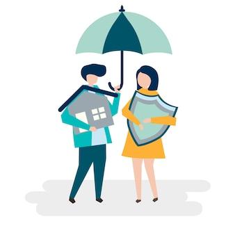 Coppia e un'illustrazione di concetto di assicurazione casa