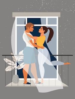 발코니에서 포옹하는 커플. 사랑의 부부. 격리 및 자기 격리 개념. 유행성 독감 동안 집에 머무는 가족. 창에서 아름 다운 커플입니다. 남자와 여자는 발코니에 서입니다.
