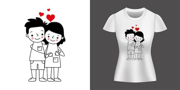 シャツにプリントされたハートの間に抱きしめるカップル。