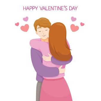 Пара обнимая друг друга, любовник, день святого валентина