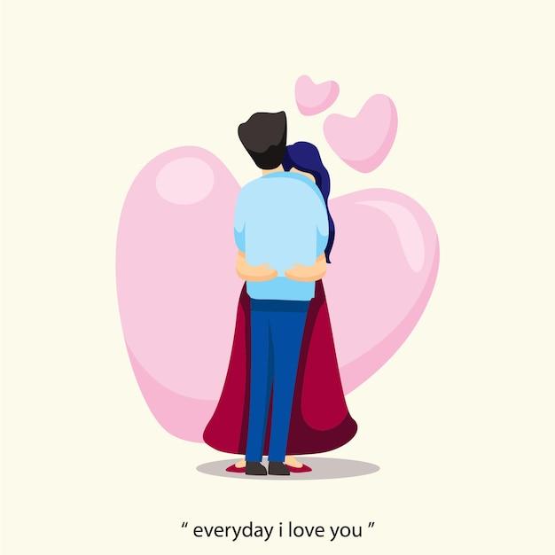 커플 포옹 사랑 발렌타인 평면 디자인 일러스트 레이션에 빠지다