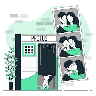 Пара в фотобудке концепции иллюстрации