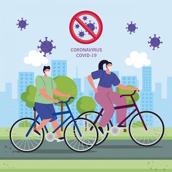 Covid-19 전염병 동안 자연 풍경에 의료 보호 마스크를 사용 하여 자전거의 커플
