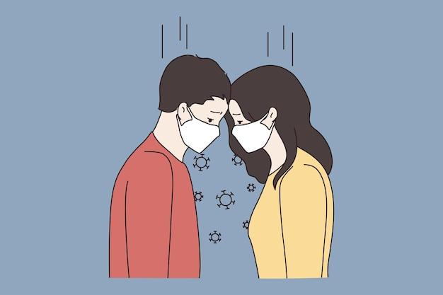 코로나 전염병 동안 안면 마스크를 쓴 커플