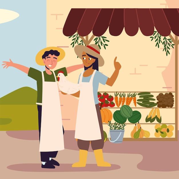 현지 유기농 시장에서 커플