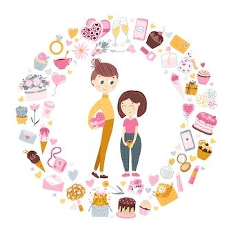 사랑에 빠진 커플. 키가 큰 소년이 소녀에게 발렌타인 데이 선물을줍니다. 프리미엄 벡터