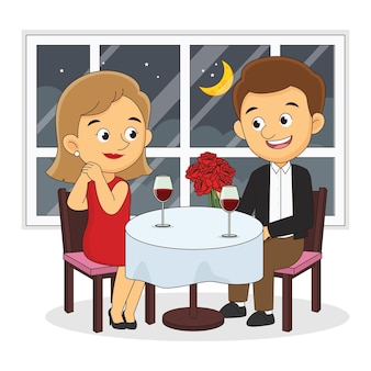 Влюбленная пара мальчик и девочка, сидя на стульях за столом в кафе, день святого валентина