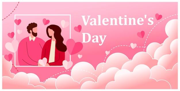 Влюбленная пара. пара романтических партнеров смотрят друг на друга на свидании. мужчина и женщина. вектор, плоский стиль. в день святого валентина. 14 февраля. подходит для веб-баннеров. приглашение.