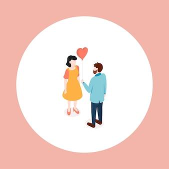 Влюбленная пара. знакомства. изометрические векторные иллюстрации.