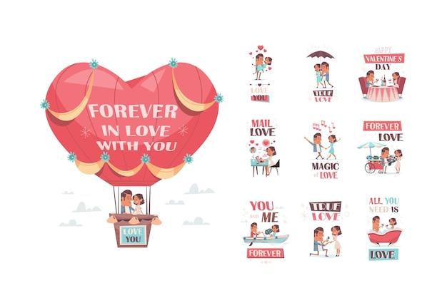 Влюбленная пара, летающая на воздушном шаре, набор подруга и парень веселятся, празднование дня святого валентина