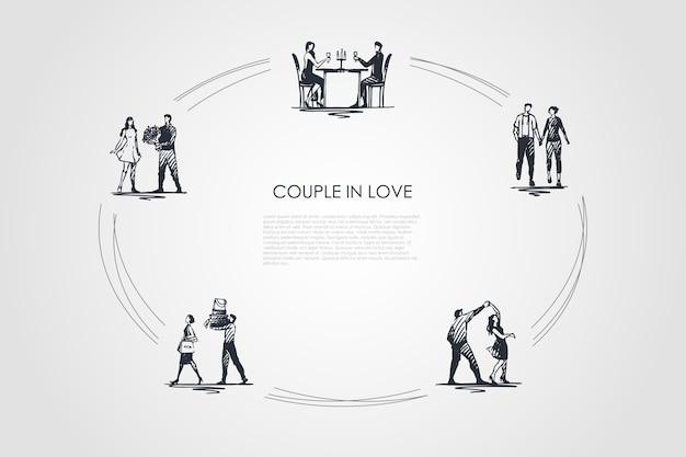 愛のカップル手描きのシクル