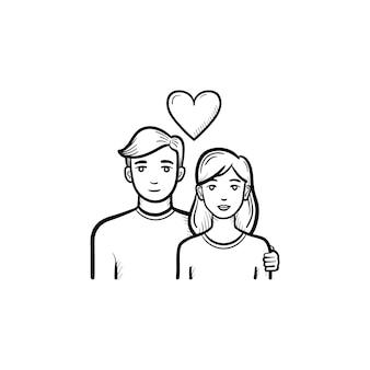愛のカップル手描きのアウトライン落書きアイコン。印刷、ウェブ、モバイル、白い背景で隔離のインフォグラフィックのベクトルスケッチイラストをデートの女性と男性。