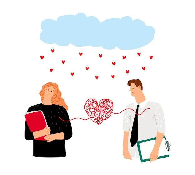 愛のカップルは心に縛られています。夢中になった恋愛カップルのキャラクター、雨の心。聖バレンタインデーのベクトル図