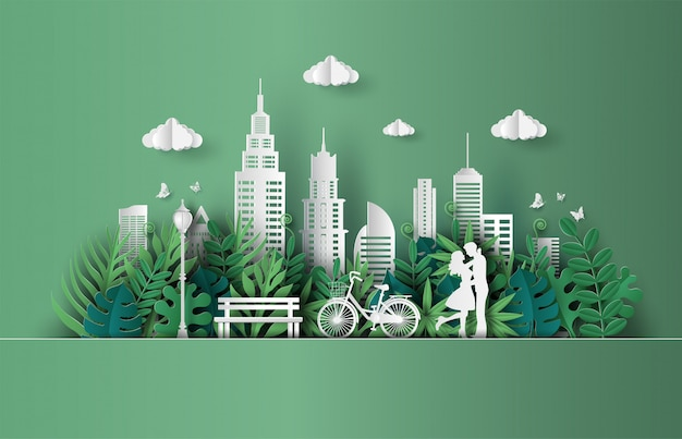Пара в любви, обниматься в парке с эко зеленый город. Premium векторы