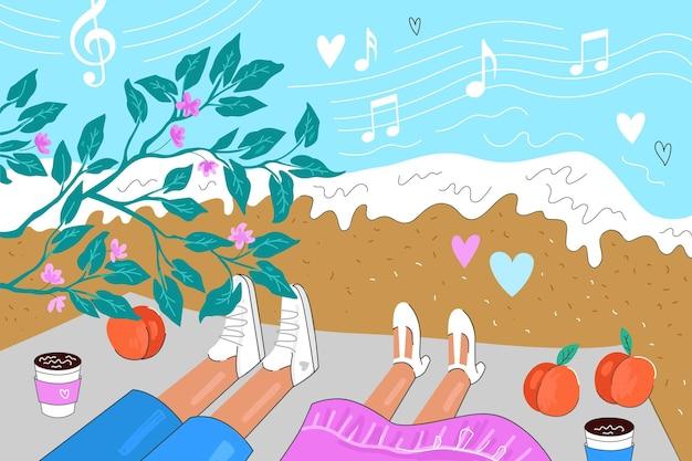 Влюбленная пара лежит на одеяле на берегу моря романтическое свидание на пляже с музыкальными персиками и кофе