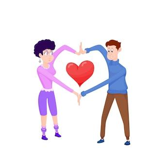 愛のカップル、手からハートを作った、キャラクターデザイン
