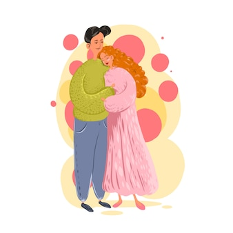 愛のカップル。愛情を込めて抱きしめる男女。聖バレンタインのごちそうのキャラクター。漫画のイラスト