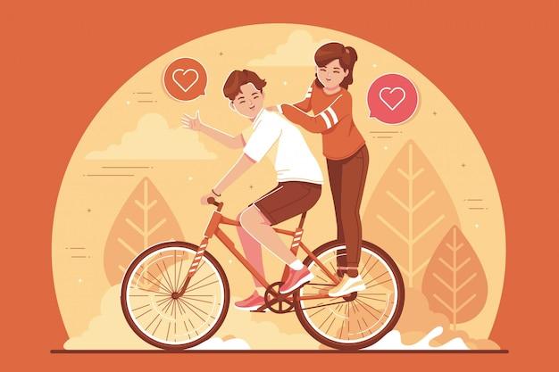 自転車のイラストに乗って愛のカップル