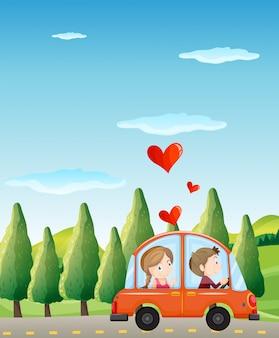 Влюбленная пара катается на машине