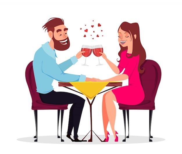 愛のカップル、レストランでロマンチックな夜