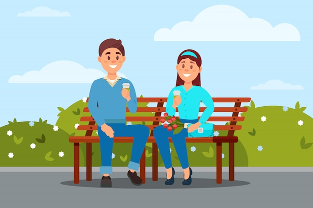 公園の小話でベンチに一緒に座って愛のカップル
