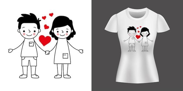 シャツにプリントされた手をつないで愛するカップル。