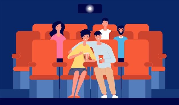 映画館のカップル。映画の中で幸せな男の子の女の子、映画を見ている漫画の人々。若い視聴者、ホールのベクトル図のフラットな聴衆。映画や映画館、観客の娯楽