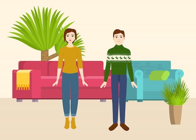 ソファとアームチェア、家の植物が付いている新しい家のカップル。ベクトルイラスト。引っ越し家。購入またはレンタルルーム。幸せな漫画の男と女のカップル。