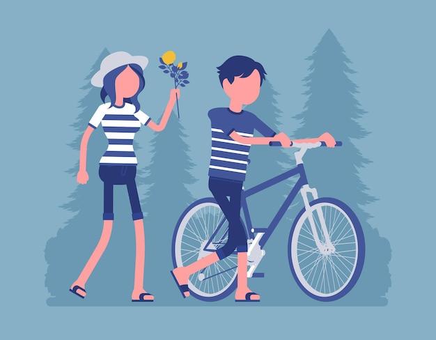 公園のイラストのカップル