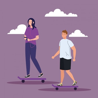 スケートボード、屋外活動を実行するカップル