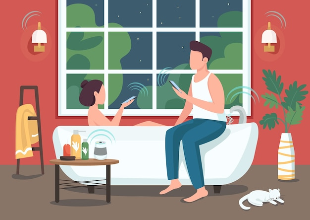 스마트 욕실 평면 색상의 커플. 사람들은 스마트 폰으로 기기를 원격 제어합니다. 배경에 자동화 된 욕실이있는 젊은 남자와 여자 2d 만화 캐릭터