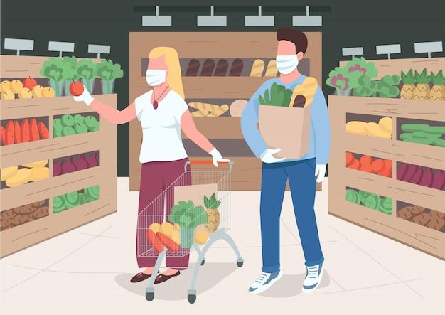 Пара в магазине во время карантина