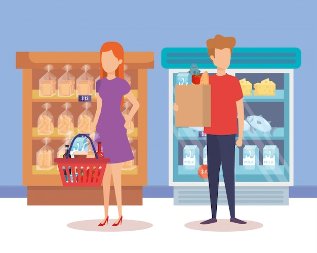 선반 및 제품 슈퍼마켓 냉장고에 몇