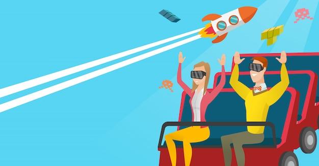 ジェットコースターに乗ってvrヘッドセットのカップル